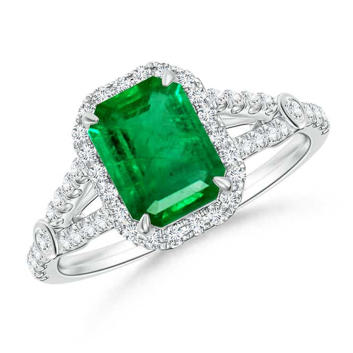 Angara Diamond Split Shank Natural Emerald Halo Engagement Ring