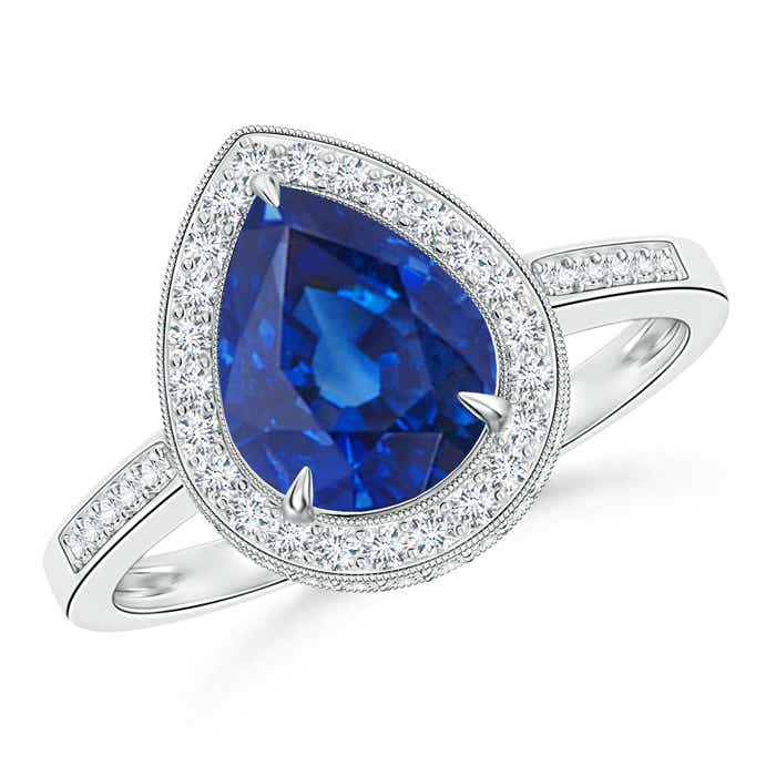 Angara Milgrain Detailed Sapphire and Diamond Halo Ring in Platinum gkyvpAV