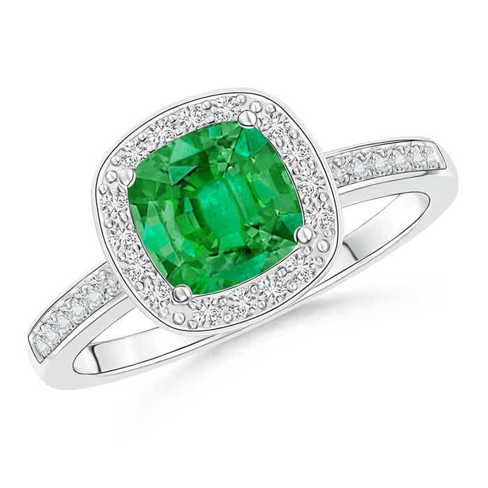 Angara Cushion Emerald Engagement Ring with Diamonds in White Gold dpI5Uh