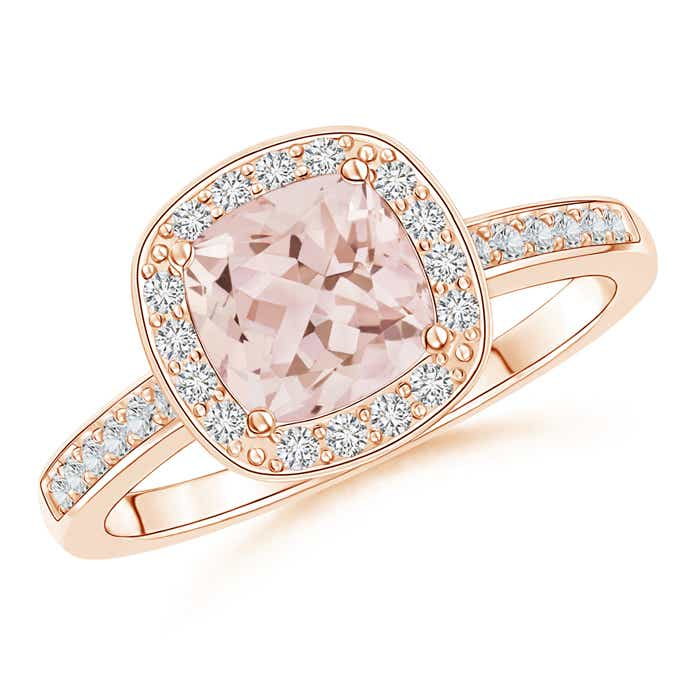 Angara Split Shank Cushion Morganite Solitaire Ring with Diamond Accents xfmBS
