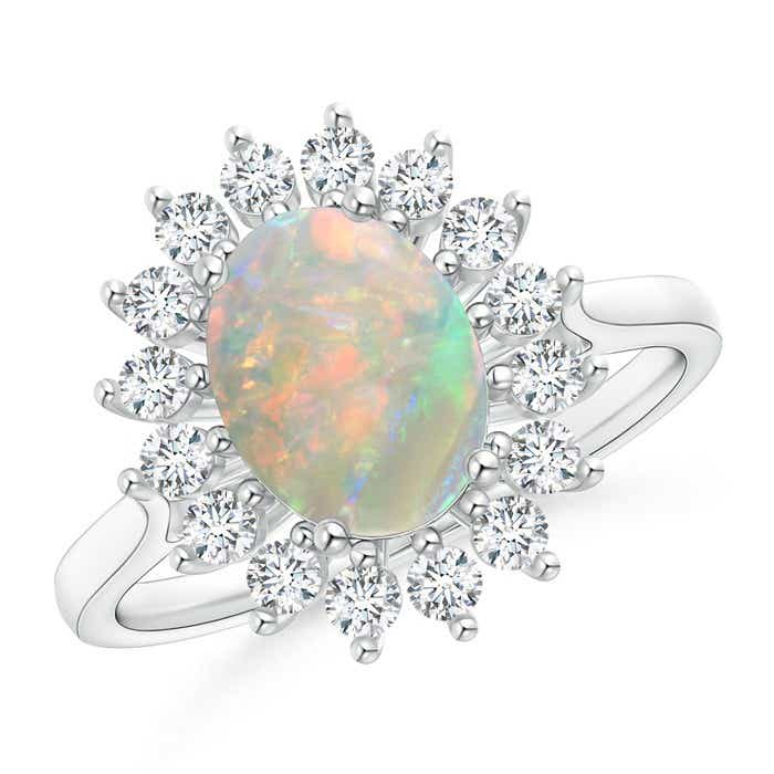 Angara Oval Opal and Diamond Floral Vintage Ring in White Gold ZFnRzH6