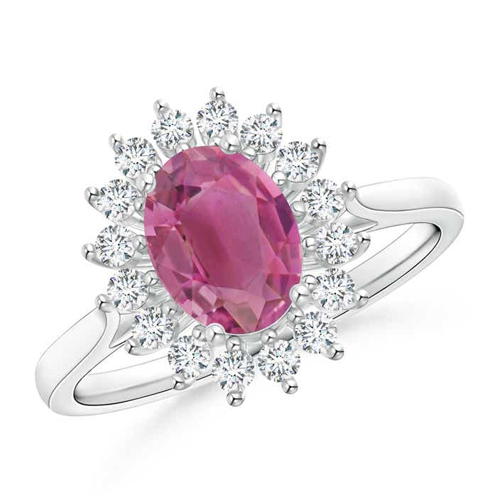 Angara Oval Pink Tourmaline Floral Vintage Ring in Platinum