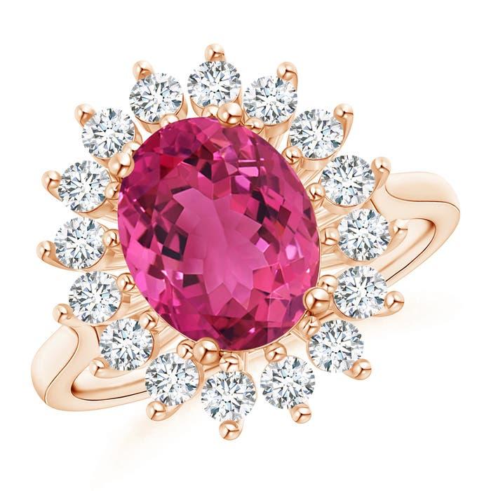 Angara Oval Flower Pink Tourmaline Ring with Halo Diamond in Platinum 7EZYNF