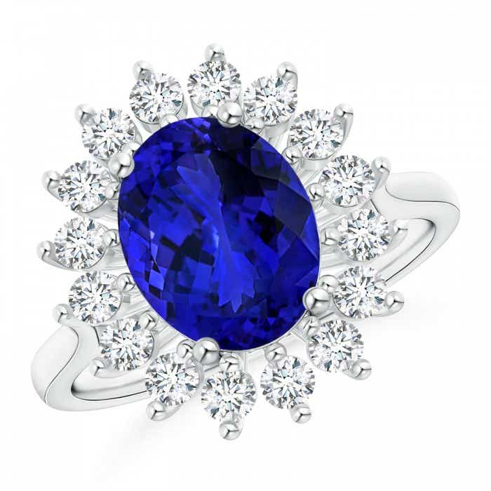 Angara GIA Certified Oval Tanzanite Ring with Bezel Diamond Halo