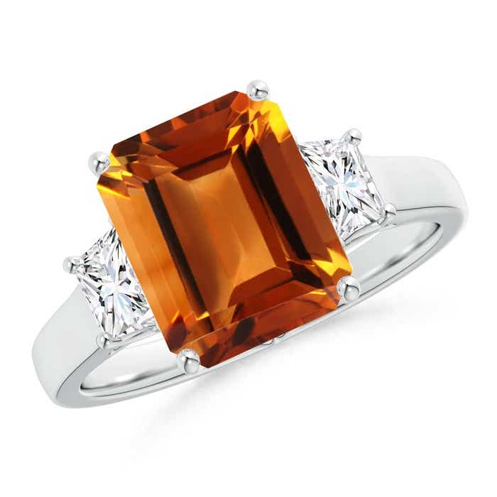 Angara Emerald-Cut Citrine and Trapezoid Diamond Three Stone Ring in Platinum