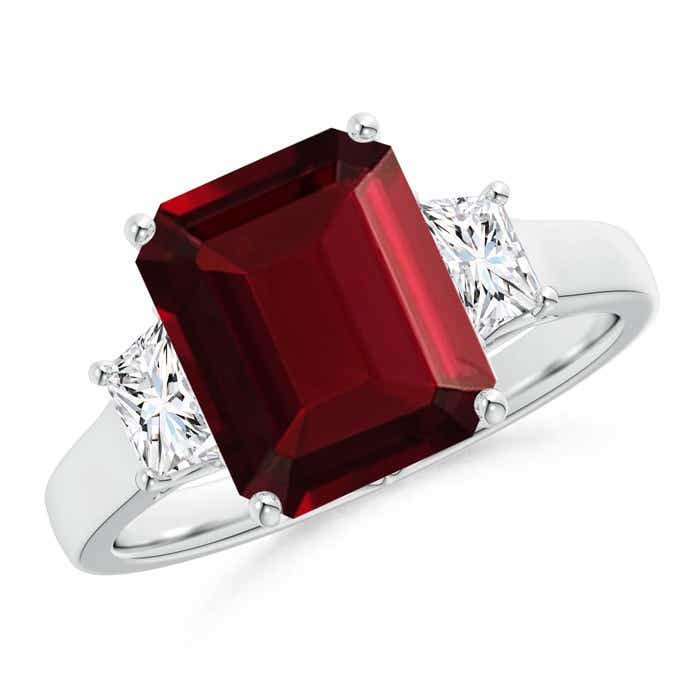 Angara Emerald-Cut Ruby and Diamond Three Stone Ring in White Gold