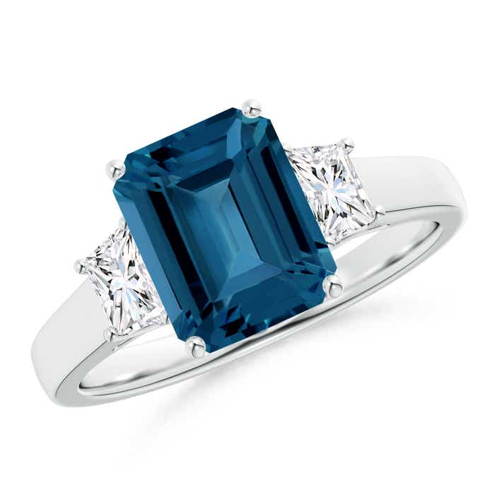 Angara Emerald-Cut London Blue Topaz Ring with Trio Diamond Accents
