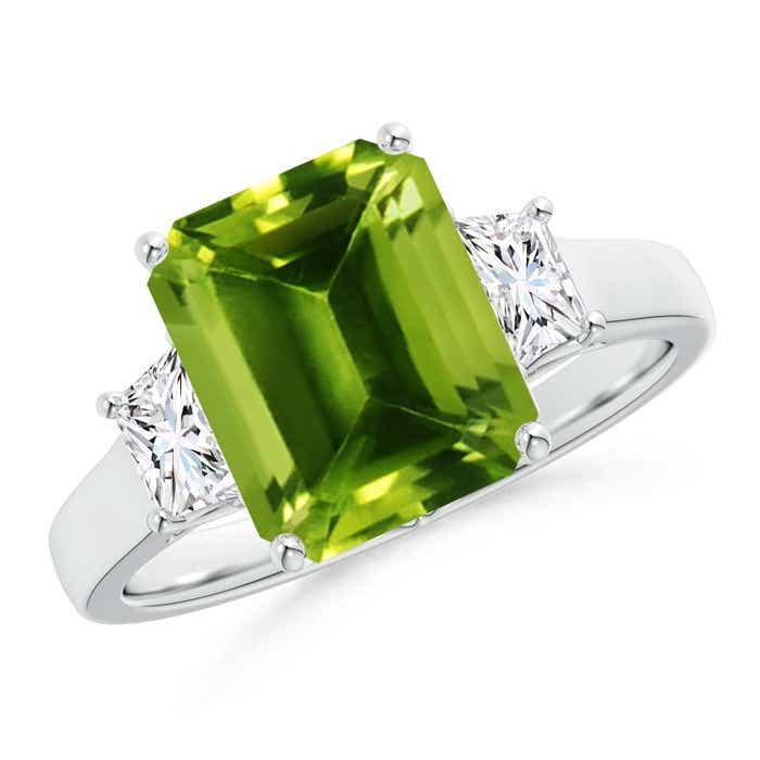 Angara Emerald-Cut Peridot and Trapezoid Diamond Three Stone Ring Rose Gold UroC1