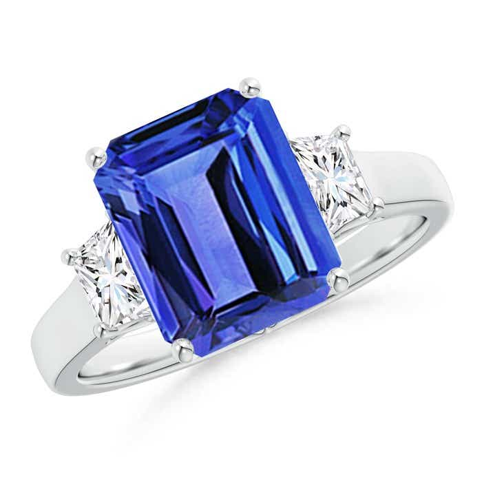 Angara Three Stone Tanzanite and Trapezoid Diamond Ring in White Gold