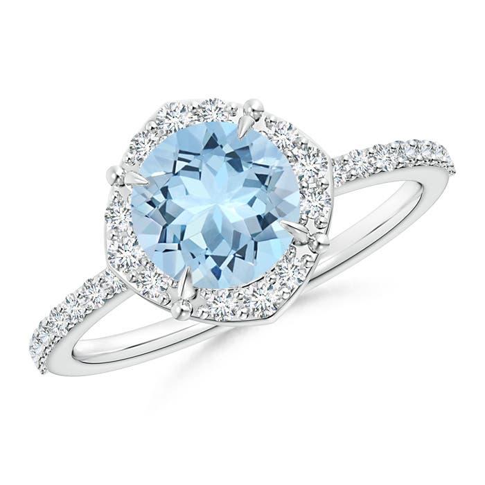 Angara Oval Aquamarine and Diamond Halo Engagement Ring Platinum Npe06Jx