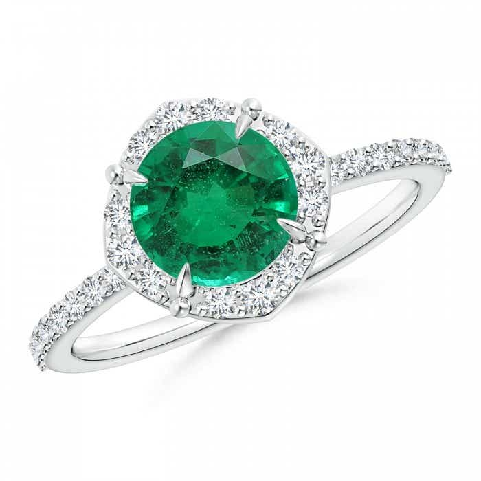 Angara Emerald Necklace - Claw-Set Round GIA Certified Emerald with Diamond Halo lmWJagiKk