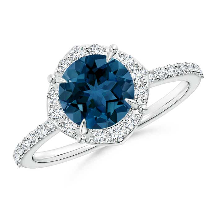 Angara Diamond Floral Halo Blue Sapphire Cathedral Ring in Platinum WeCyLOI