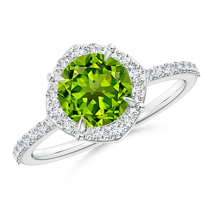 Angara Vintage Diamond Halo Round Peridot Ring in White Gold PTCli3g