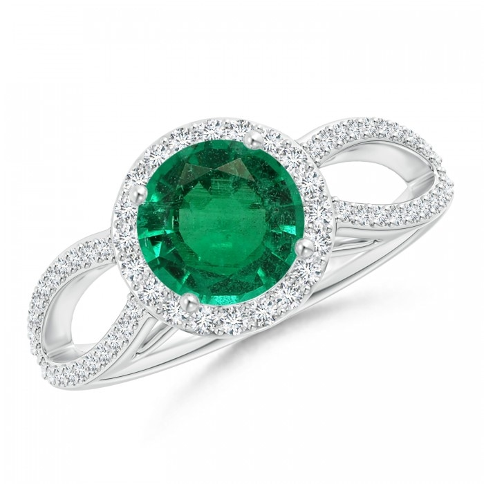 Angara Emerald and Diamond Three Stone Ring (GIA Certified Emerald)