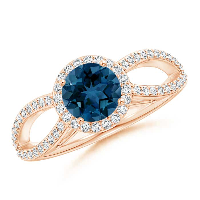 Angara Vintage Style London Blue Topaz Diamond Halo Ring AJNv3T