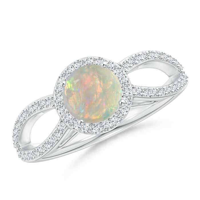 Angara Opal Spli Shank Ring in White Gold