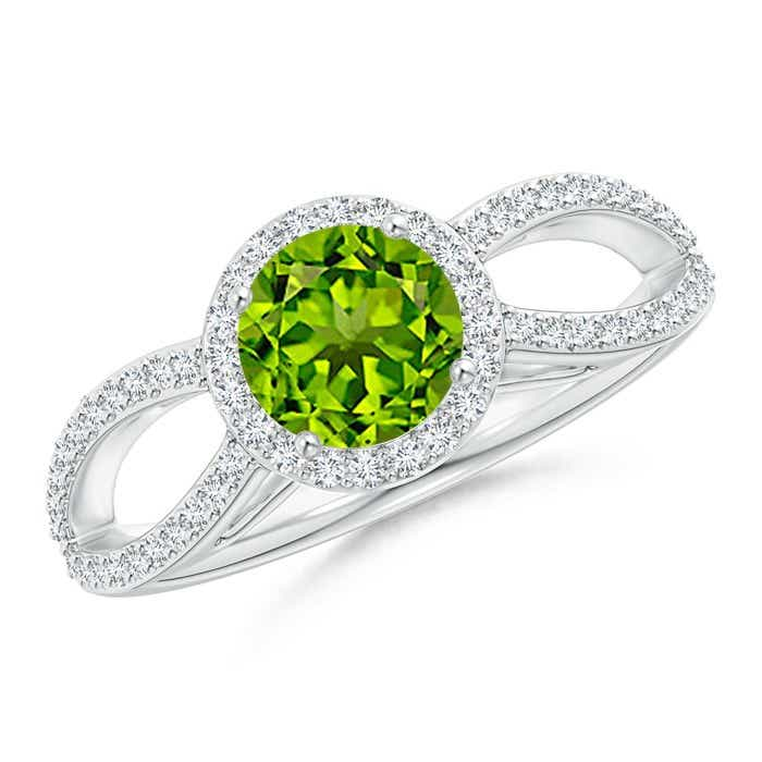 Angara Vintage Diamond Halo Round Peridot Ring in Platinum