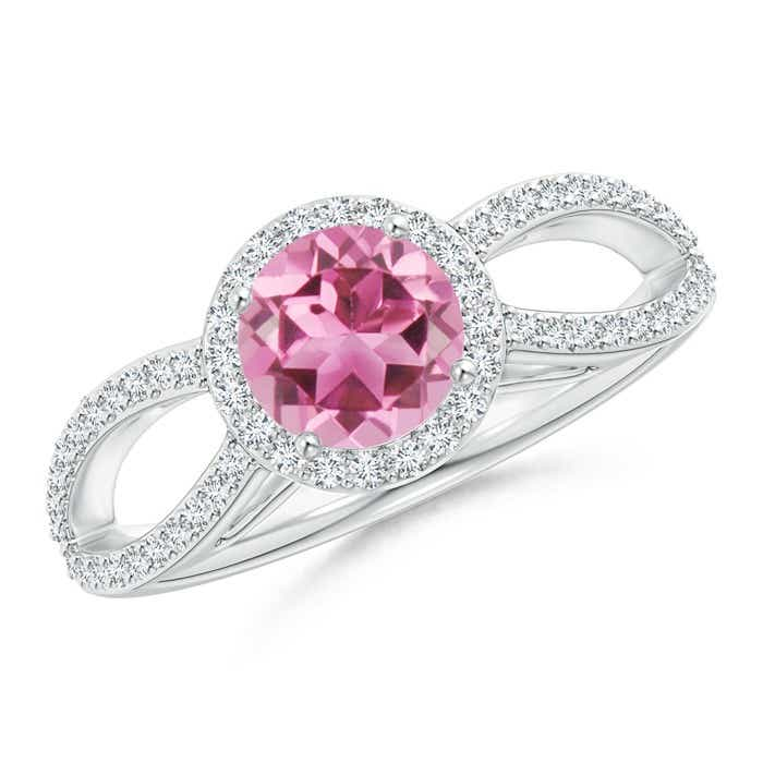 Angara Claw Pink Tourmaline and Diamond Halo Engagement Ring vREZCjHSZT