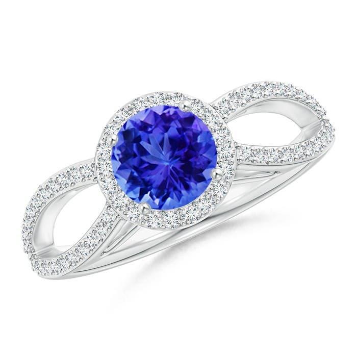 Angara Vintage Style Diamond Halo Tanzanite Criss Cross Ring in White Gold SbTbJlS2m