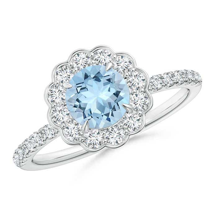 Angara Floating Aquamarine and Diamond Halo Antique Style Ring in Platinum 58DYdPN
