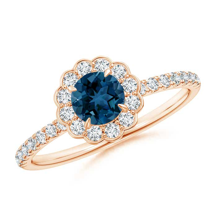 Angara Vintage Style London Blue Topaz Flower Ring with Diamonds Aunir9Om0w