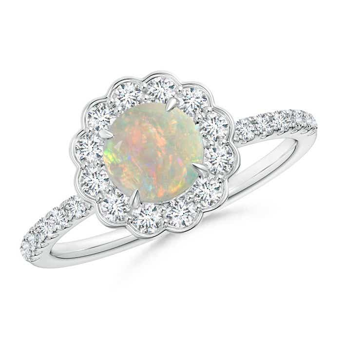 Angara Oval Opal Ring with Diamond Wedding Band Set in Platinum oLthm