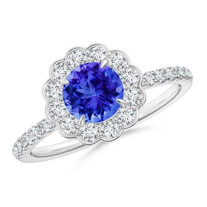 Angara Scalloped Diamond Halo Claw Tanzanite Vintage Ring oXQABhZ