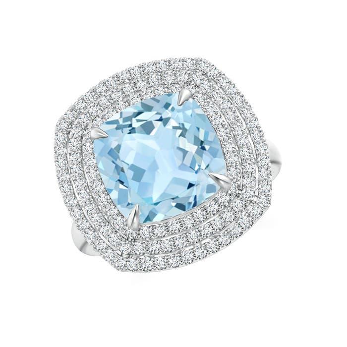 Angara Claw Cushion Aquamarine Diamond Triple Framed Cocktail Ring White Gold 7nJBpMKO