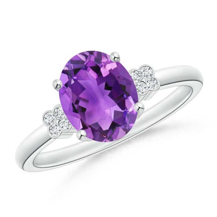 Angara Bezel-Set Oval Amethyst Ring with Diamond Halo