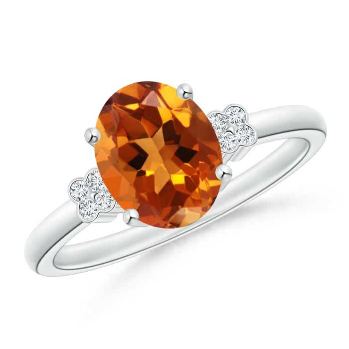 Angara Solitaire Oval Citrine Ring with Trio Diamond Accents in Platinum