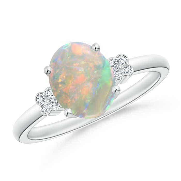 Angara Oval Opal and Diamond Floral Vintage Ring in Yellow Gold