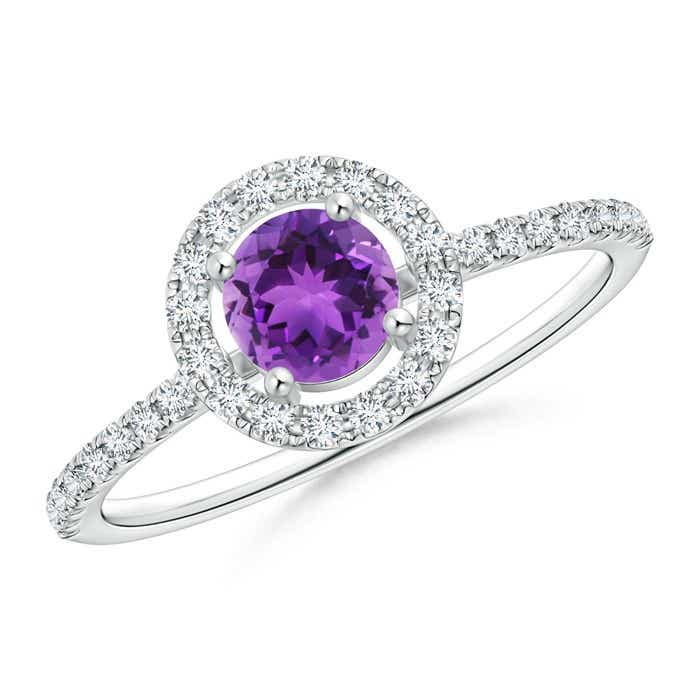 Angara Floating Diamond Halo Amethyst Split Shank Ring in Rose Gold qYewb