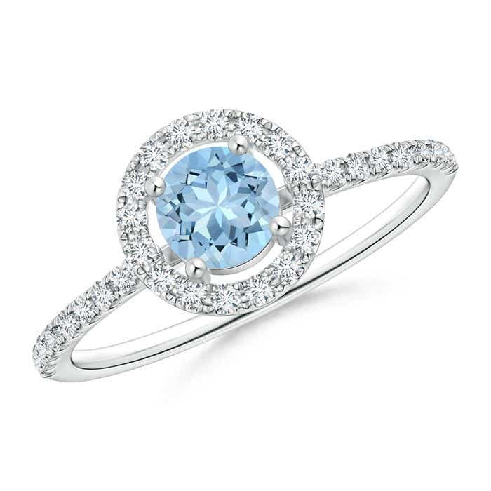 Angara Floating Aquamarine and Diamond Halo Antique Style Ring OluXteG