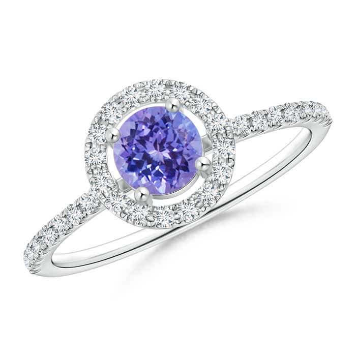 Angara Round Tanzanite Halo Ring with Diamond Accent in White Gold