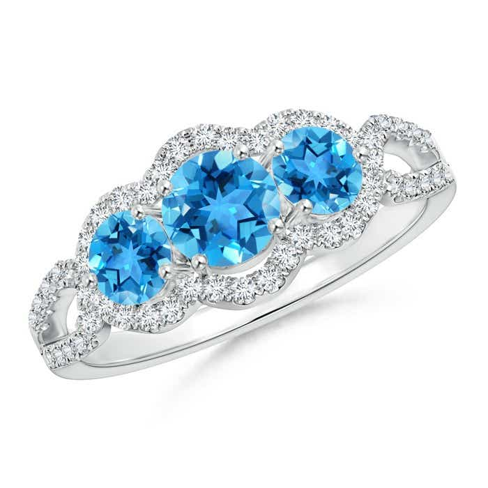 Angara Three Stone Swiss Blue Topaz Diamond Engagement Ring in Platinum