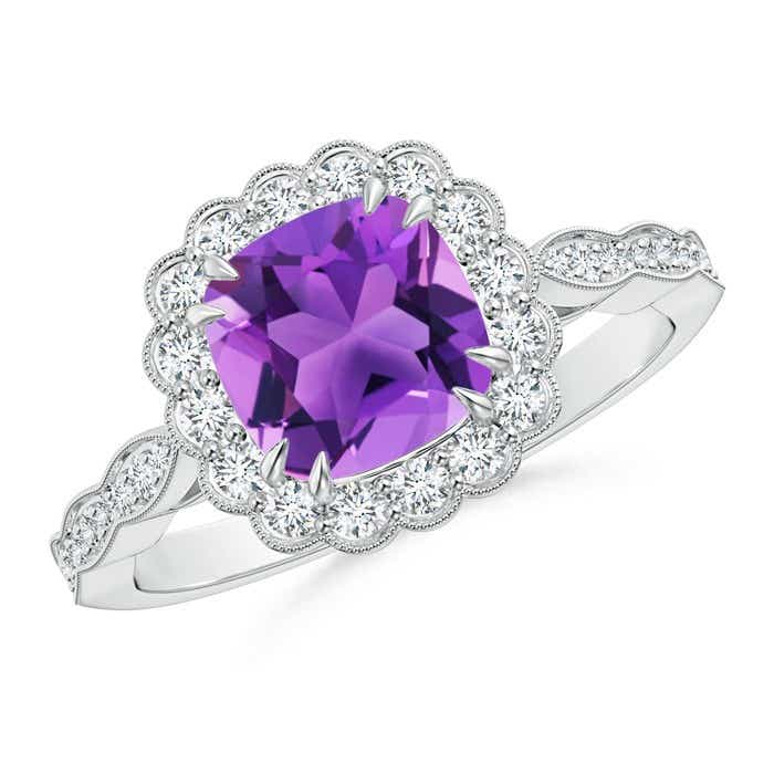Angara Art Deco Inspired Cushion Amethyst Ring with Diamond Halo PYmYfoGf