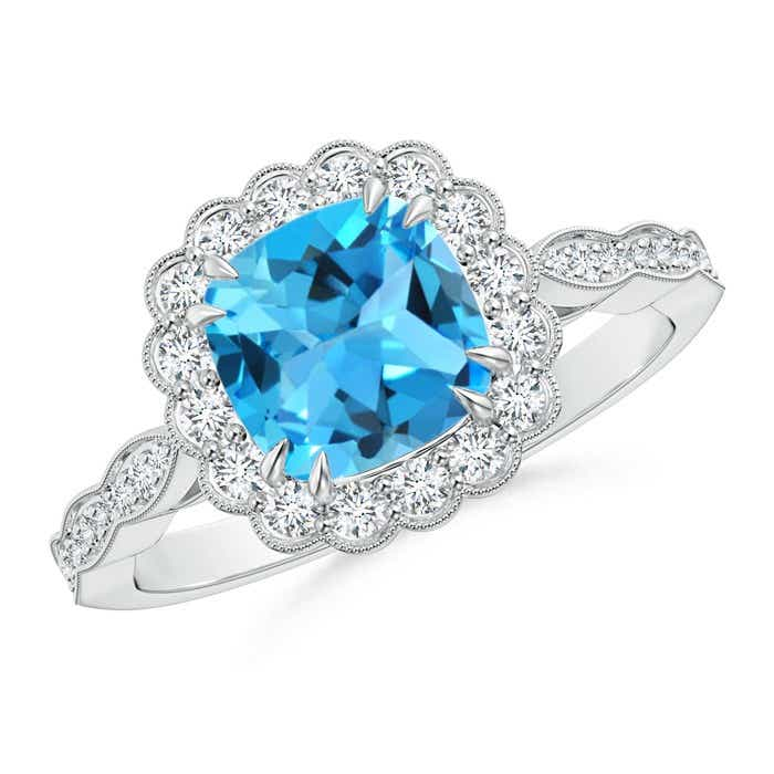 Angara Cushion Swiss Blue Topaz and Diamond Ring in Platinum