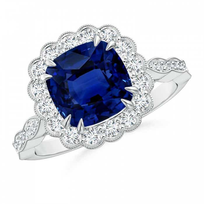 Angara Sapphire Ring - Double Claw-Set GIA Certified Cushion Blue Sapphire Ring 21VkOQ