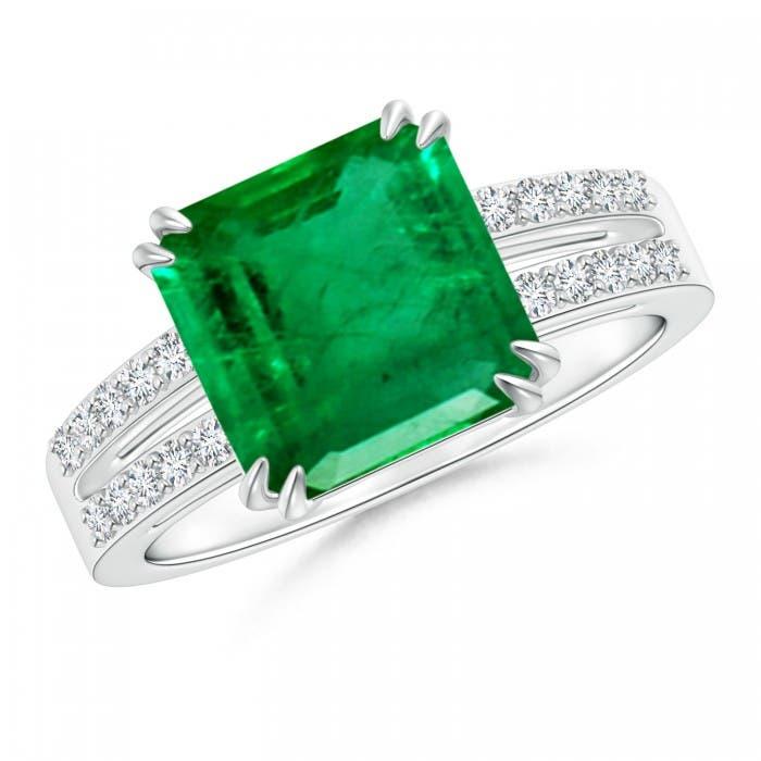 Angara GIA Certified Emerald Cluster Halo Ring with Diamonds 09wtviDb