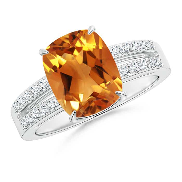 Angara Cushion Citrine Ring in 14k White Gold EbYppJQ
