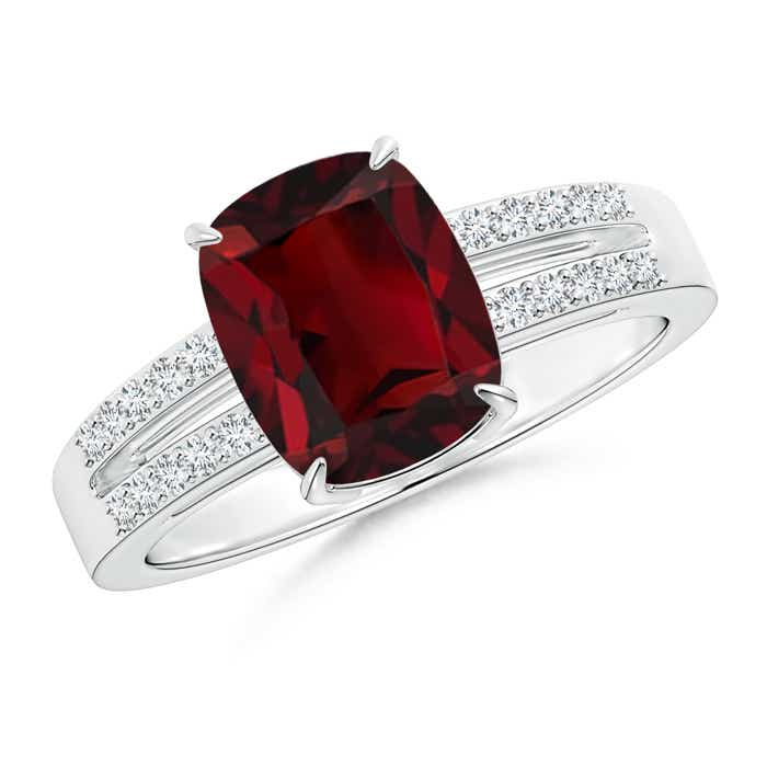 Angara Claw Cushion Garnet and Diamond Split Shank Ring in White Gold i8bPN
