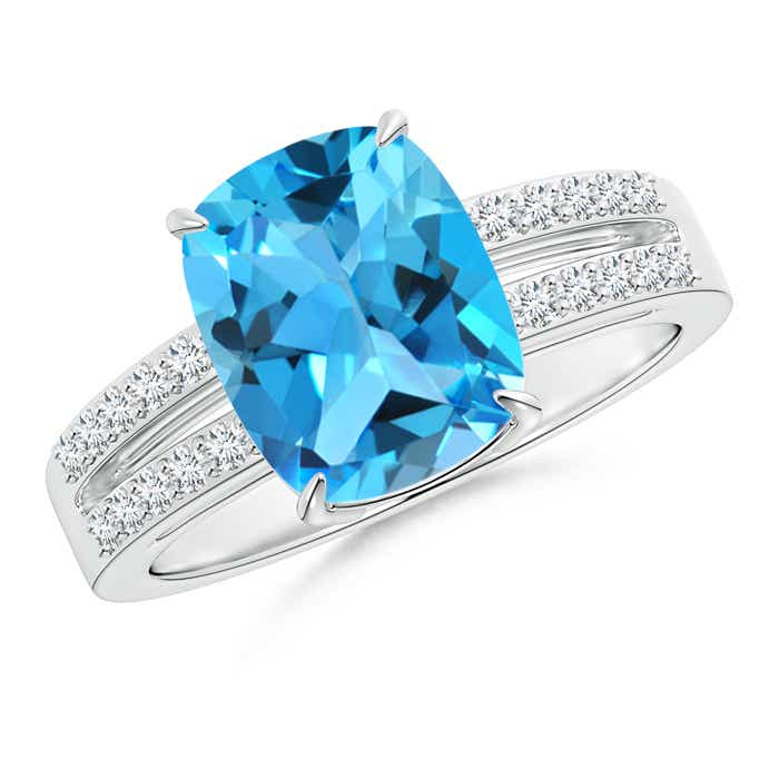 Angara Split Shank Swiss Blue Topaz Cocktail Ring in Platinum USlOwpx2g