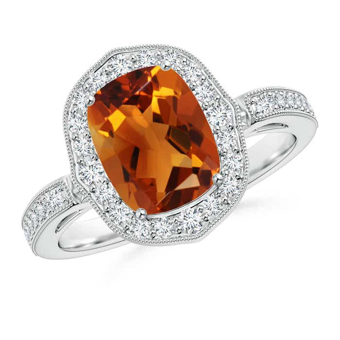 Angara Vintage Citrine Cocktail Ring with Diamond Halo IblKNqwIr