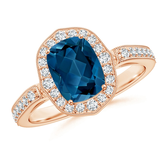 Angara Cushion London Blue Topaz and Diamond Ring in Rose Gold lnstnyePdN