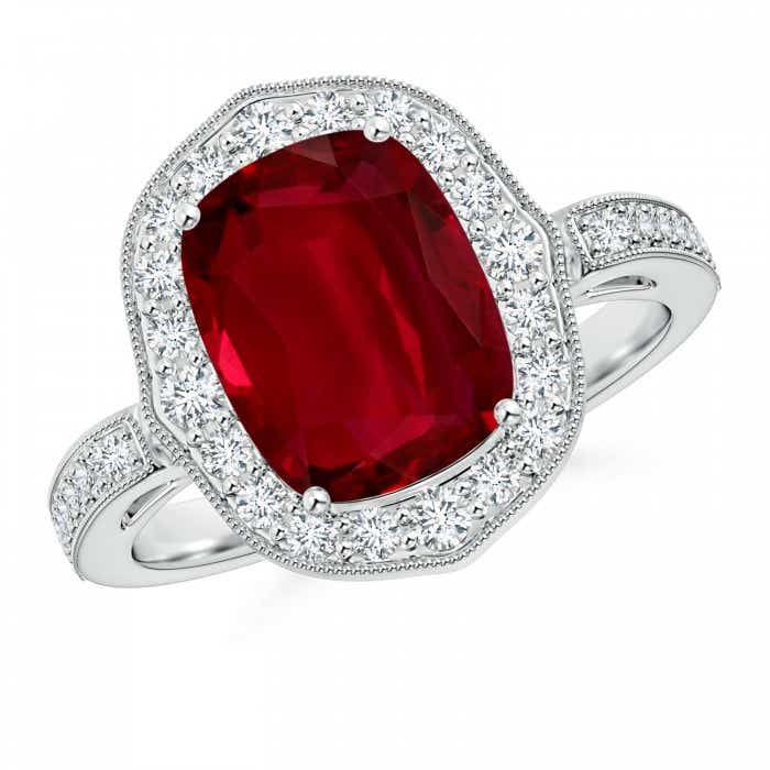 Angara Cushion Ruby Engagement Ring in Platinum 14R3vm