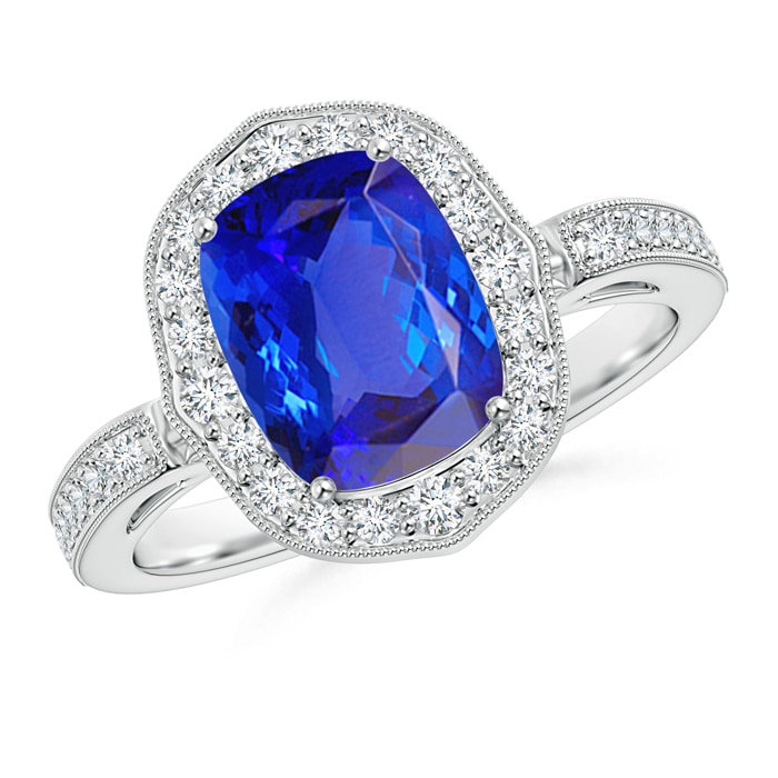 Angara Round Sapphire Halo Ring with Cushion Milgrain Detailing RsFhHAzz3