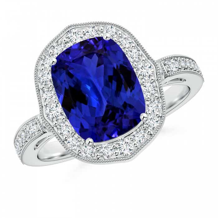 Angara Tanzanite Ring - Tanzanite and Diamond Cocktail Ring (GIA Certified Tanzanite)
