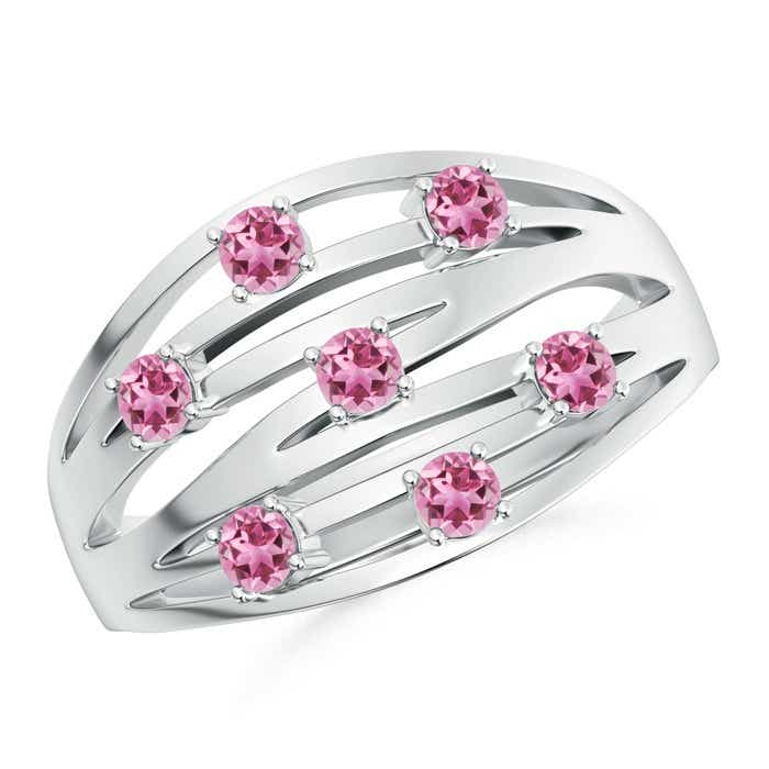 Angara Pink Tourmaline Scattered Split Band Ring 1MxbX8HdXI