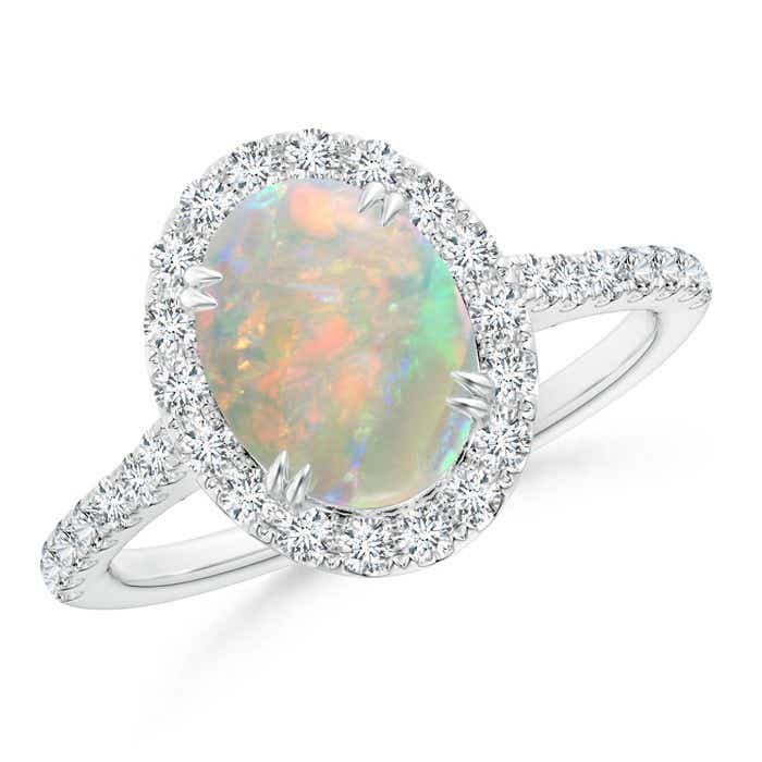 Angara Floating Cabochon Opal and Diamond Halo Antique Style Ring White Gold