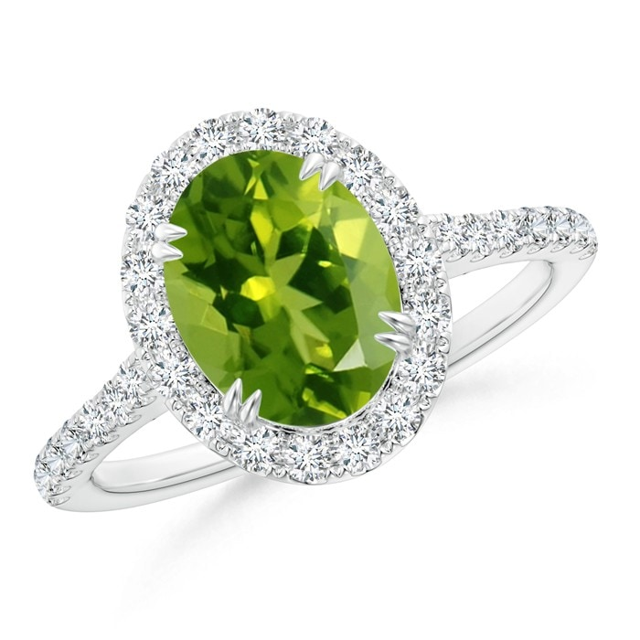 Angara Deco Inspired Oval Peridot and Diamond Halo Ring 8VI9Eu1Ofc